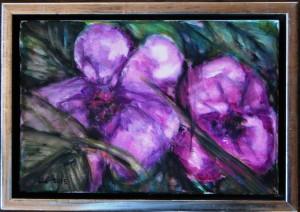 Violette Blomster - acryl på lærred - 20 x 30 cm - pris 380,- kr.