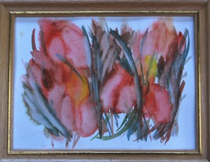 Akvarel Orange Sommer (nr. 2) - 18 x 24 cm - Pris 280,- kr.