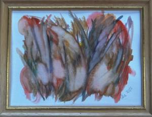 Akvarel Orange Sommer (nr. 3) - 18 x 24 cm - Pris 280,- kr.
