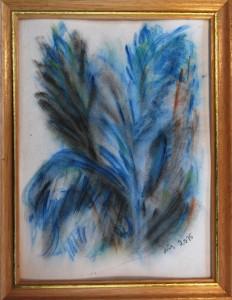 Akvarel Blå Blade (nr. 7) - 24 x 18 cm - Pris 280,- kr.