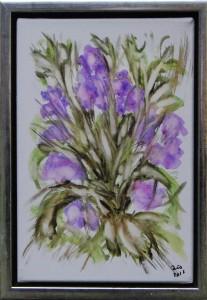 Blå blomster – acryl på lærred - 30 x 20 cm –  – 380,- kr.