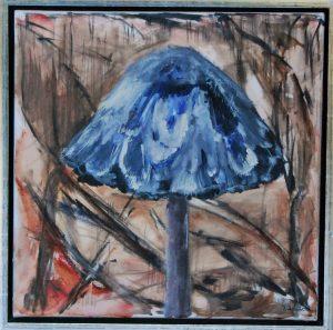 Blå svamp - acryl på lærred - 50 x 50 cm – 1.200,- kr.