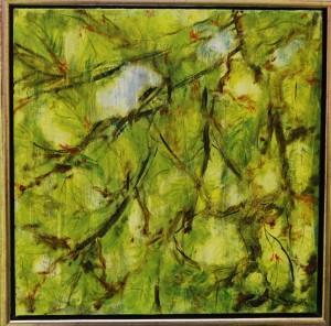 Bladmosaik - acryl på lærred - 40 x 40 cm - 800,- kr.