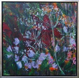 Blomsterflor – acryl på lærred - 50 x 50 cm – 1.200,- kr.
