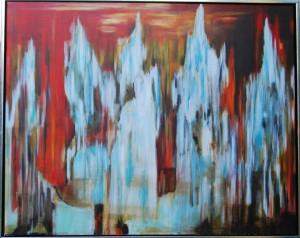 Dag og nat mødes –  acryl på lærred - 80 x 100 cm – Pris 3.500,- kr.