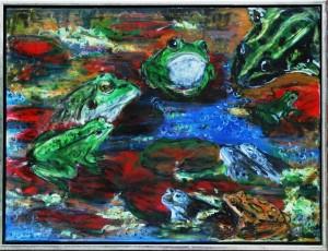 Frøer i Mosen - acryl på lærred - 60 x 80 cm - 2.500 kr.