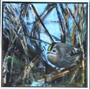 Fuglekonge - acryl på lærred - 40 x 40 cm - 1.500,- kr.