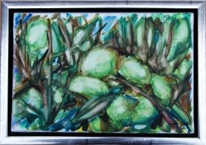 Grønne Oliven - acryl på lærred - 20 x 30 cm - 380,- kr.