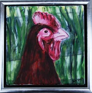 Høne - acryl på lærred - 20 x 20 cm - 335 kr.
