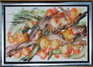 Havtorn - acryl på lærred - 20 x 30 cm - 380,- kr.