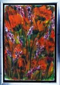 Orange Sommer - acryl på lærred - 30 x 20 - privat eje