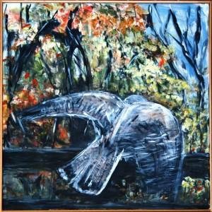 Sjælen flyver om Efteråret – acryl på lærred – 97 X 97 cm – 2.500,- kr.