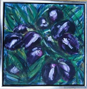 Sorte Oliven - acryl på lærred - 40 x 40 cm - 800,- kr.