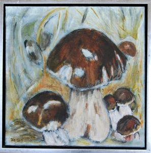 Skovbund ll – acryl på lærred – 50 x 50 cm – 1.200,- kr.