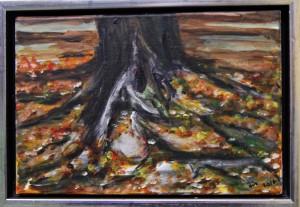 Trærod – acryl på lærred - 20 x 30 cm – 380,- kr.