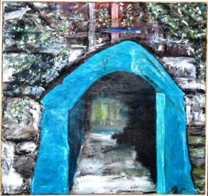 Turkis Tunel – acryl på lærred  - 93 x 99 cm –  3.800,- kr.