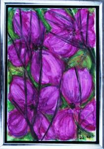 Violette Blomstergrene - acryl på lærred - 30 x 20 cm - 380,- kr.