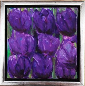 Violette Tulipaner - acryl på lærred - 20 x 20 cm - 335,- kr.